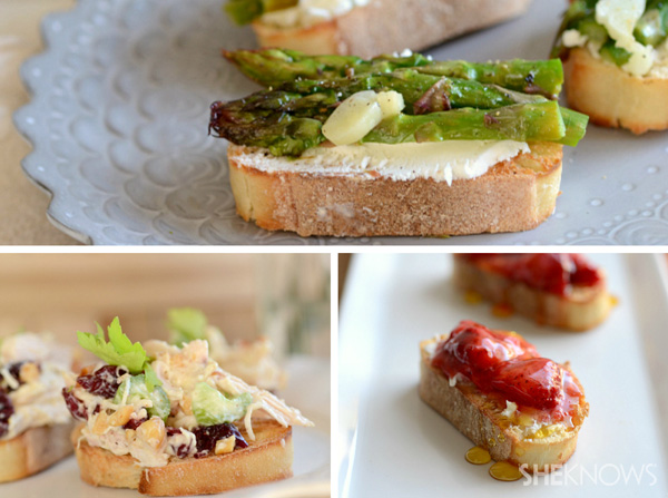 Springtime crostini 3 ways