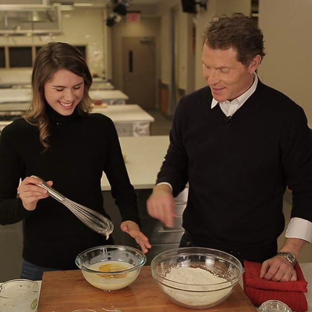 Bobby Flay and daughter Sophie making pancakes