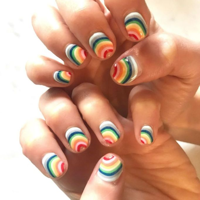 Rainbow Swirls Nail Art