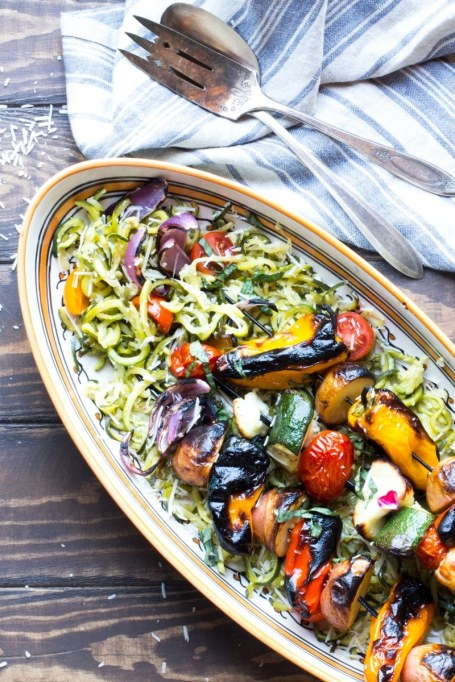 Grilled Veggies and Halloumi Over Zoodles