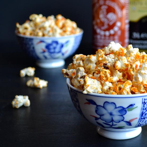 microwave sriracha popcorn