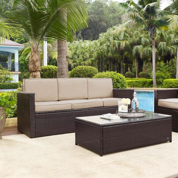 Crosley Furniture Palm Harbor Dark Brown Wicker Sofa