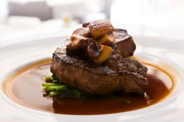 Steak with mushroom topping