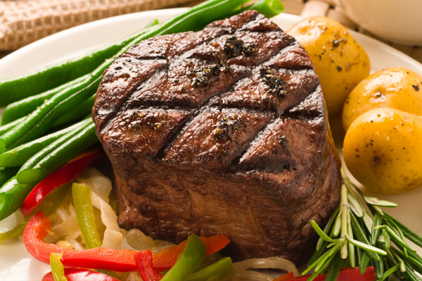 Steak and roasted potatoes