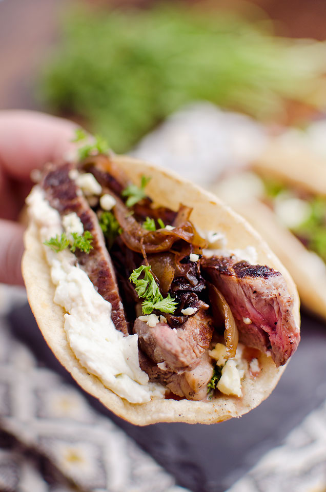 Steak and whipped blue cheese tacos