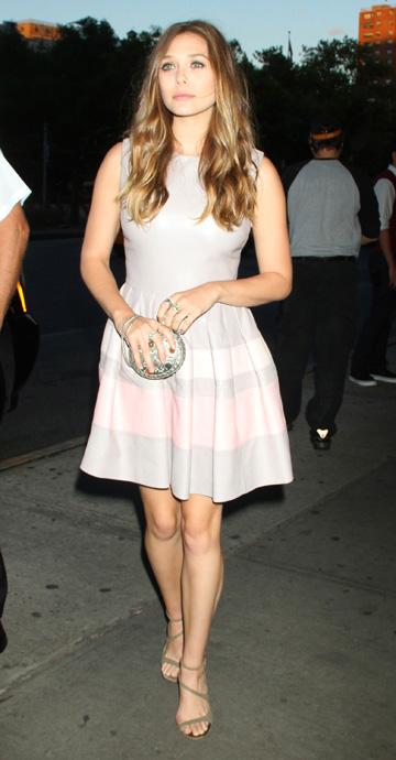 Elizabeth Olsen wearing light pink dress