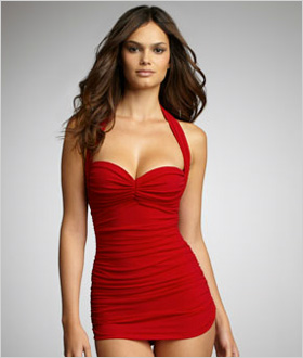 Norma Kamali Ruched Swim Dress, $350.00