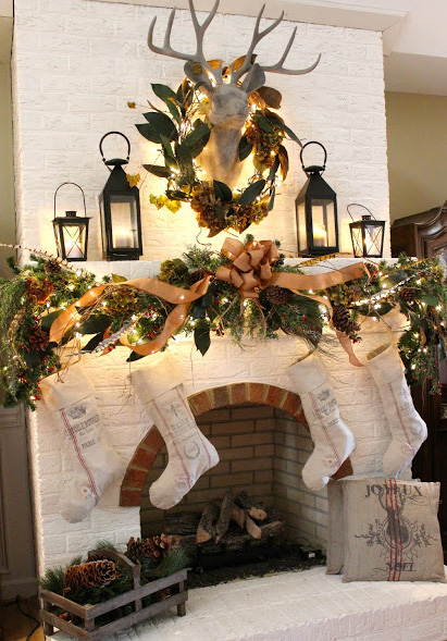Rustic country Christmas mantle