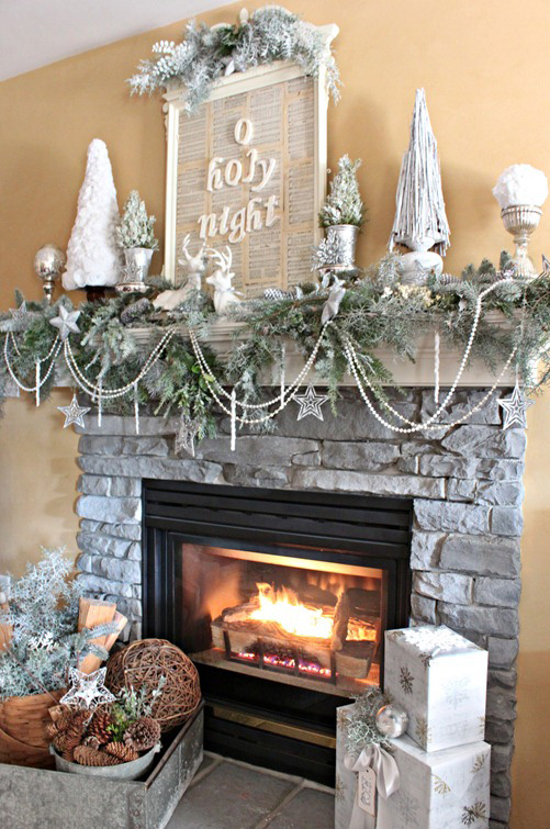 Winter white Christmas mantle