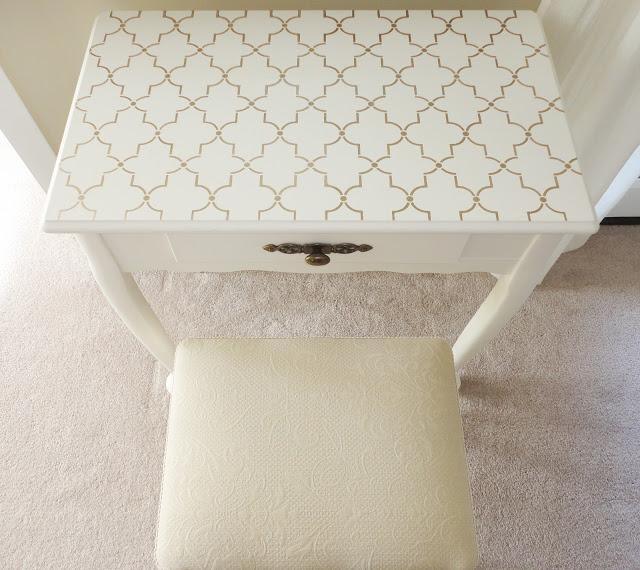 Stenciled vanity tables