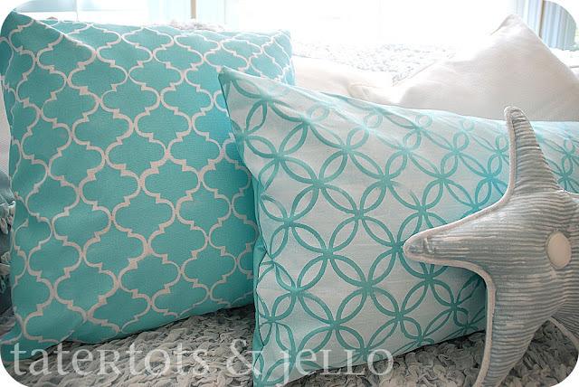 Stenciled design pillows
