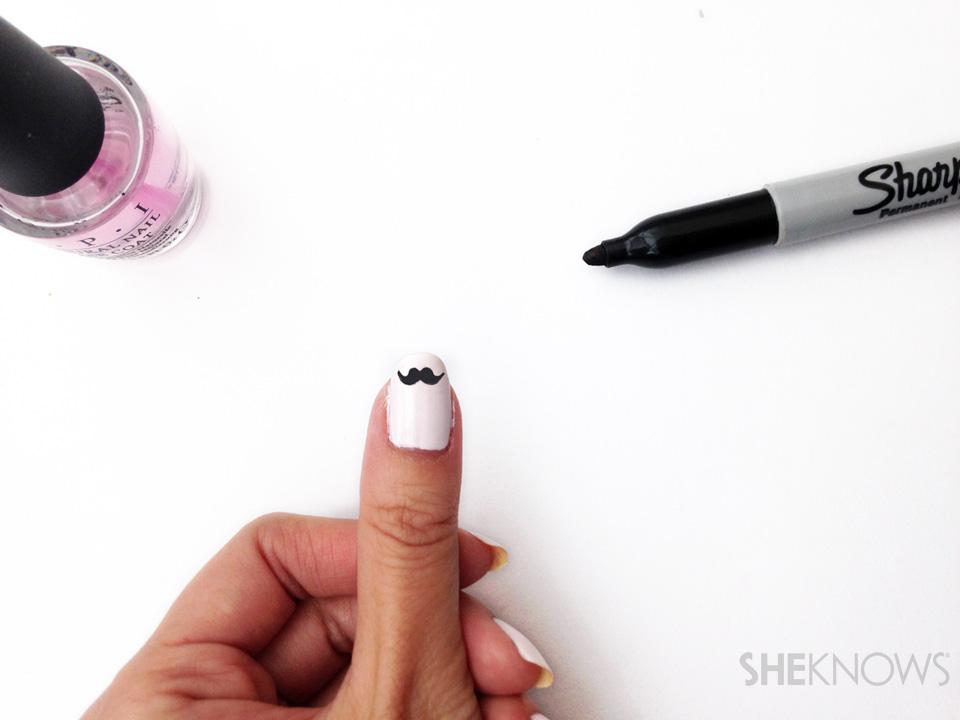Movember mustache nail art: Step 4 fill in mustache