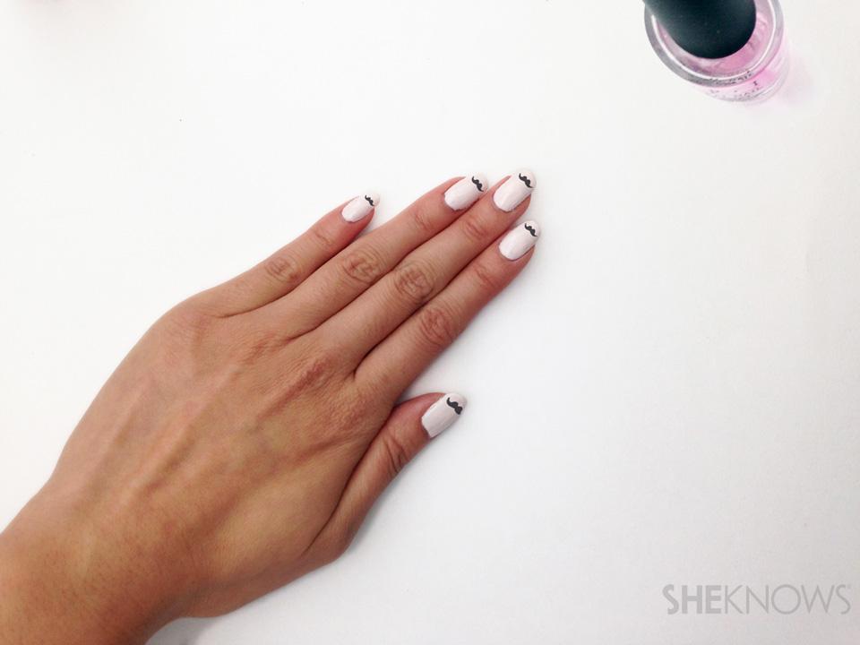 Movember mustache nail art: Step 5 finish nails