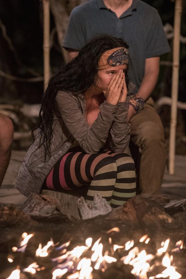 Stephanie Johnson at Tribal Council on Survivor: Ghost Island