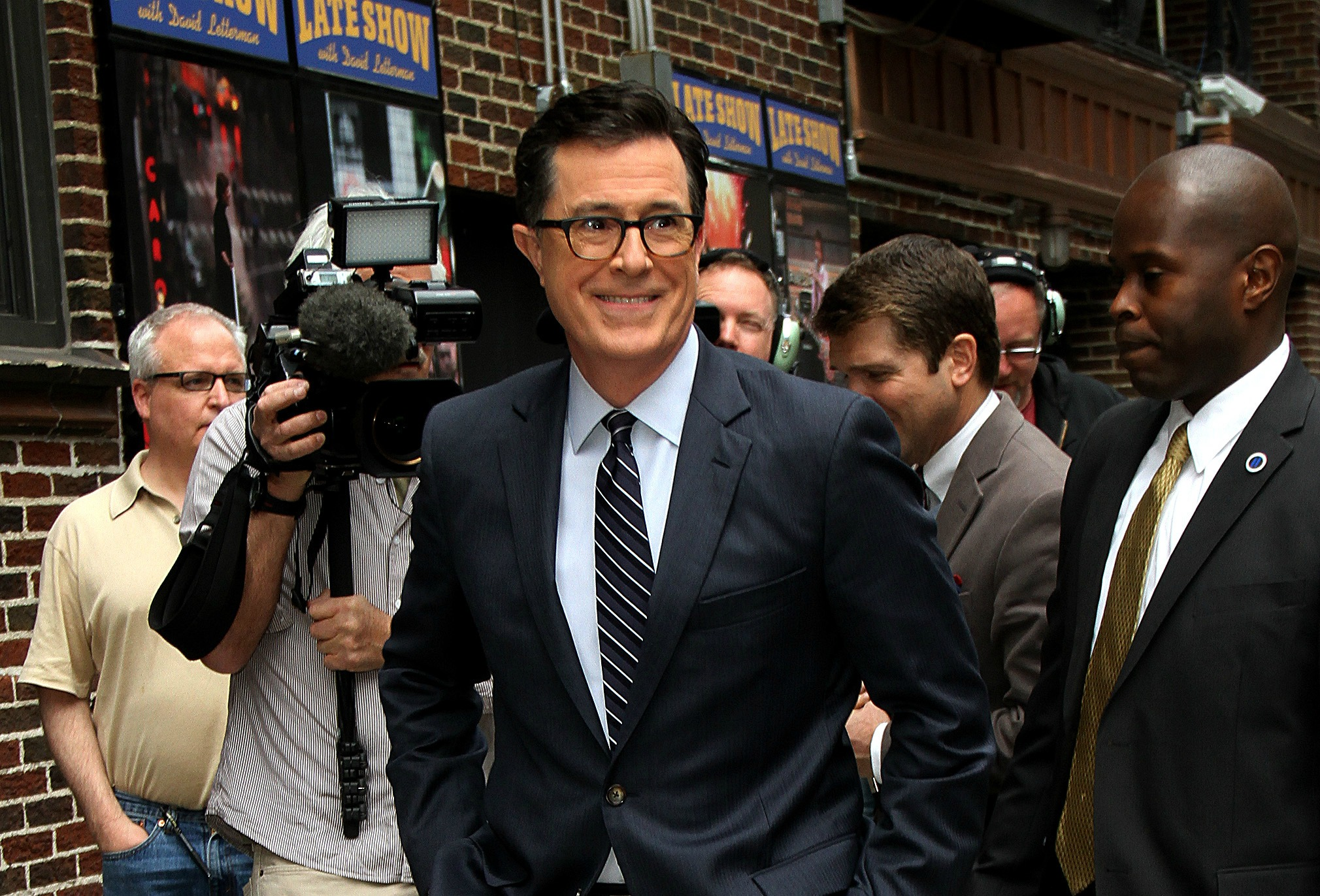 David Letterman welcomes his replacement Stephen Colbert on The Late Show