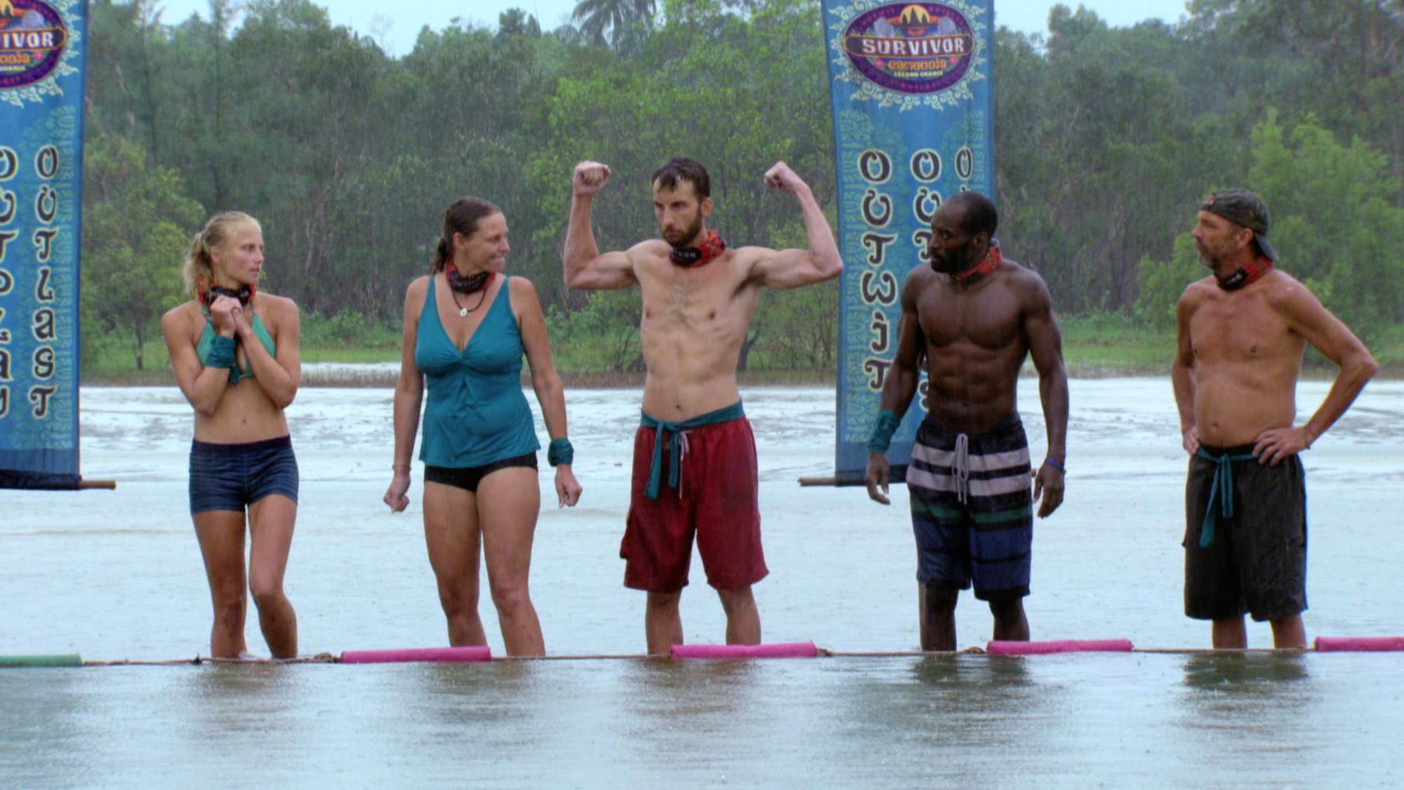 Stephen Fishbach flexes before challenge on Survivor: Second Chance