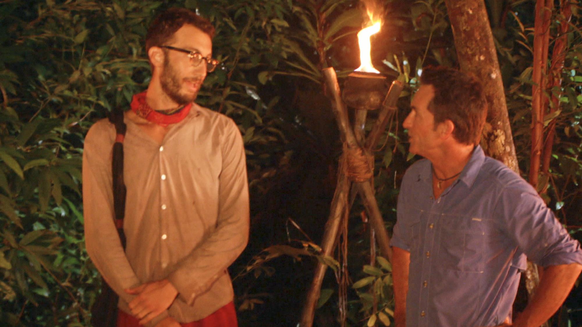 Stephen Fishbach talks with Survivor host Jeff Probst after winning Reward