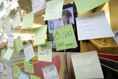 Steve Jobs Apple store memorials