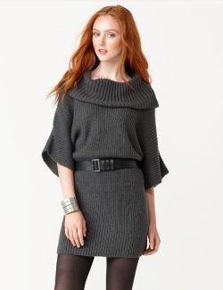 Kensie short sleeve belted sweater dress