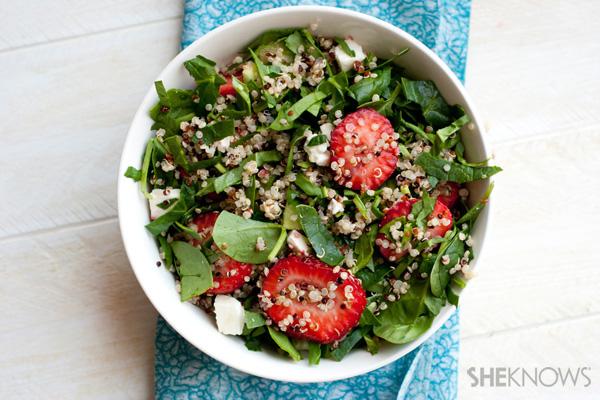 Strawberry basil quinoa salad with champagne vinaigrette
