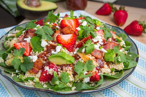 Strawberry BBQ chicken spinach and quinoa salad