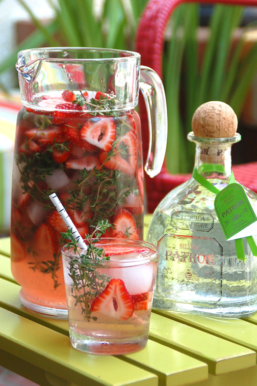 Strawberry thyme punch with Patrón Silver