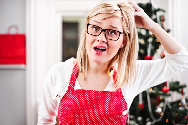Stressed Christmas hostess