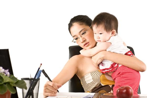 Stressed mom working
