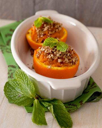 Streusel sweet potato casserole in orange bowls recipe