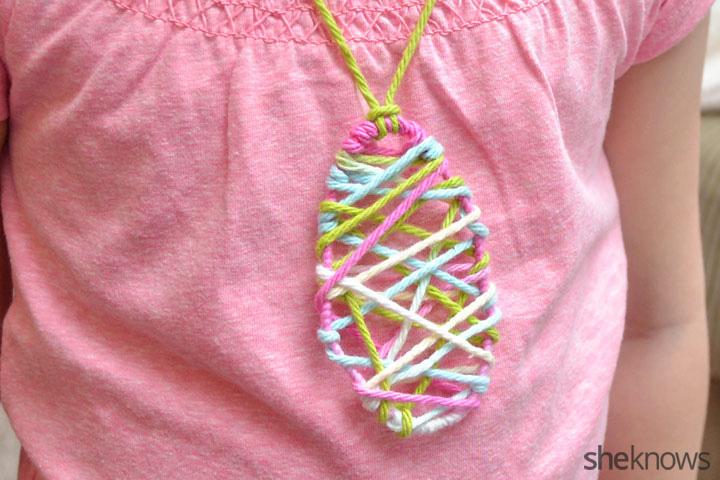 String art Easter egg necklace
