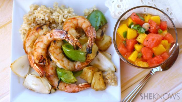 Sunday dinner: Tropical shrimp kebabs with
