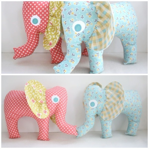 Stuffed elephants collage