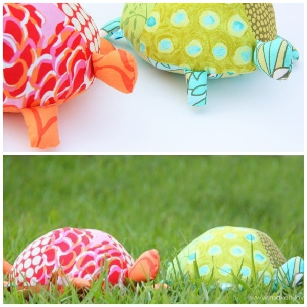 stuffed fabric turtles collage
