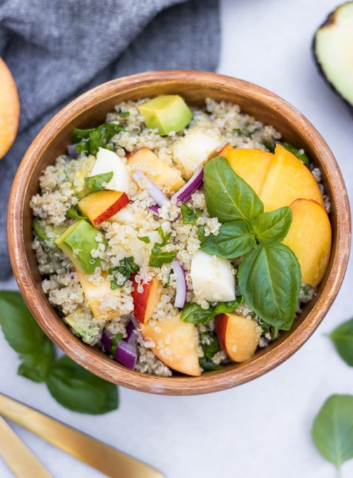 Avocado Peach Caprese Quinoa Salad