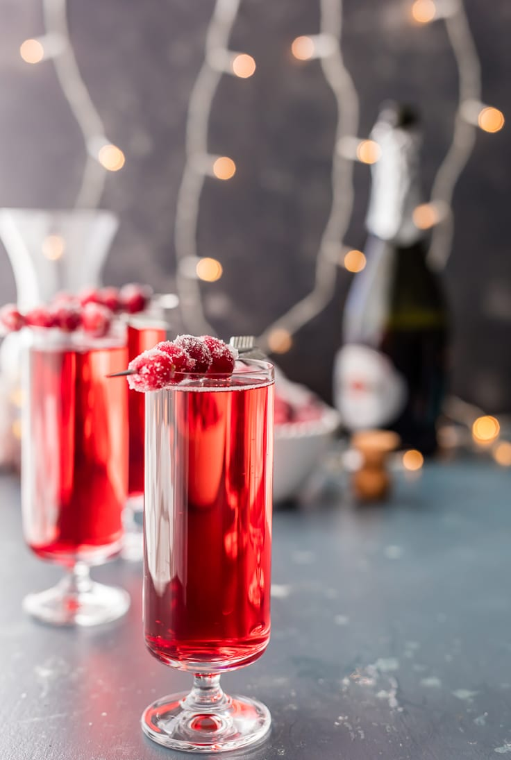 Sugared cranberry ginger mimosa