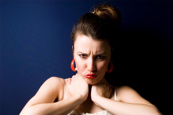 Sullen woman pouting