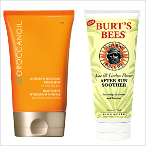 Our picks: Moroccanoil Intense Hydrating Treatment(moroccanoil.com, $36);Burt's Bees Aloe & Linden Flower After Sun Soother (drugstore.com, $10)