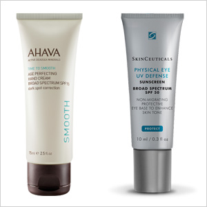 Our picks: AHAVA Age Perfecting Hand Cream SPF 15 (ahavaus.com, $32) ;Skinceuticals Physical Eye UV Defense SPF 50 (skinceuticals.com, $30)