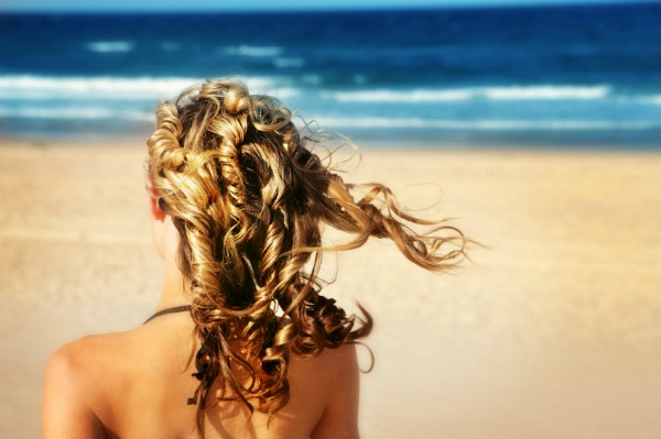 woman with shiny summer hair