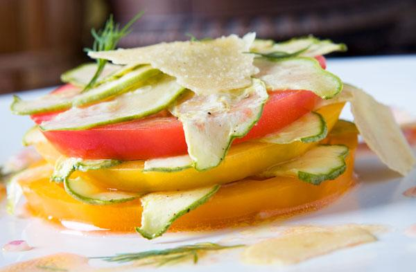 Heirloom summer squash sandwich