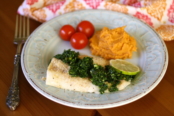 Baked Cod with Chimichurri Sauce