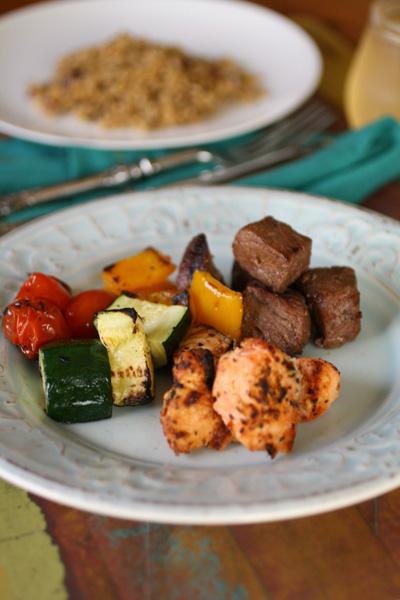 Sunday Dinner: Land, sea, and veggie kabobs