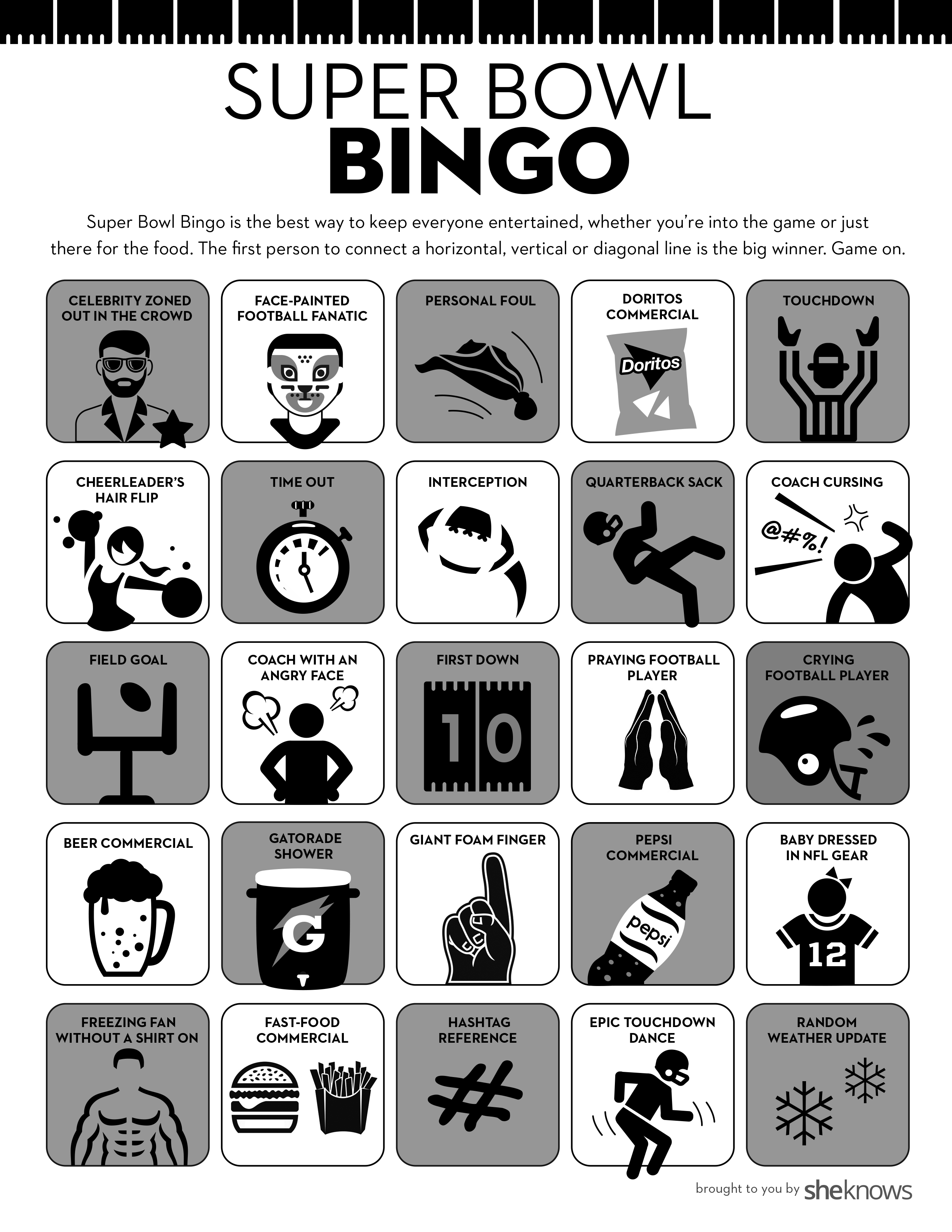 It is an image of Delicate Free Printable Football Bingo Cards