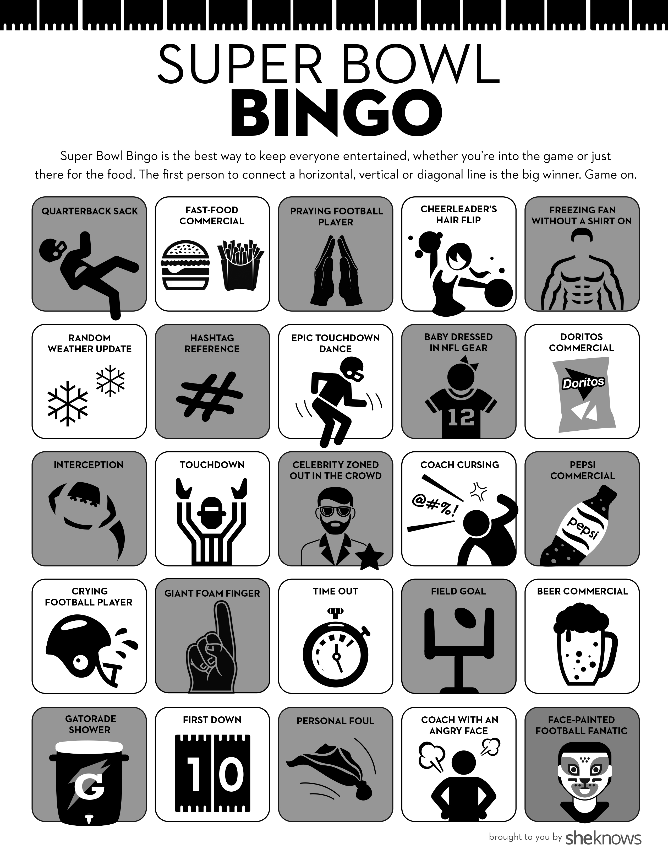 graphic relating to Superbowl Boards Printable named Tremendous Bowl Bingo Is the Fantastic Get together Activity for Anyone