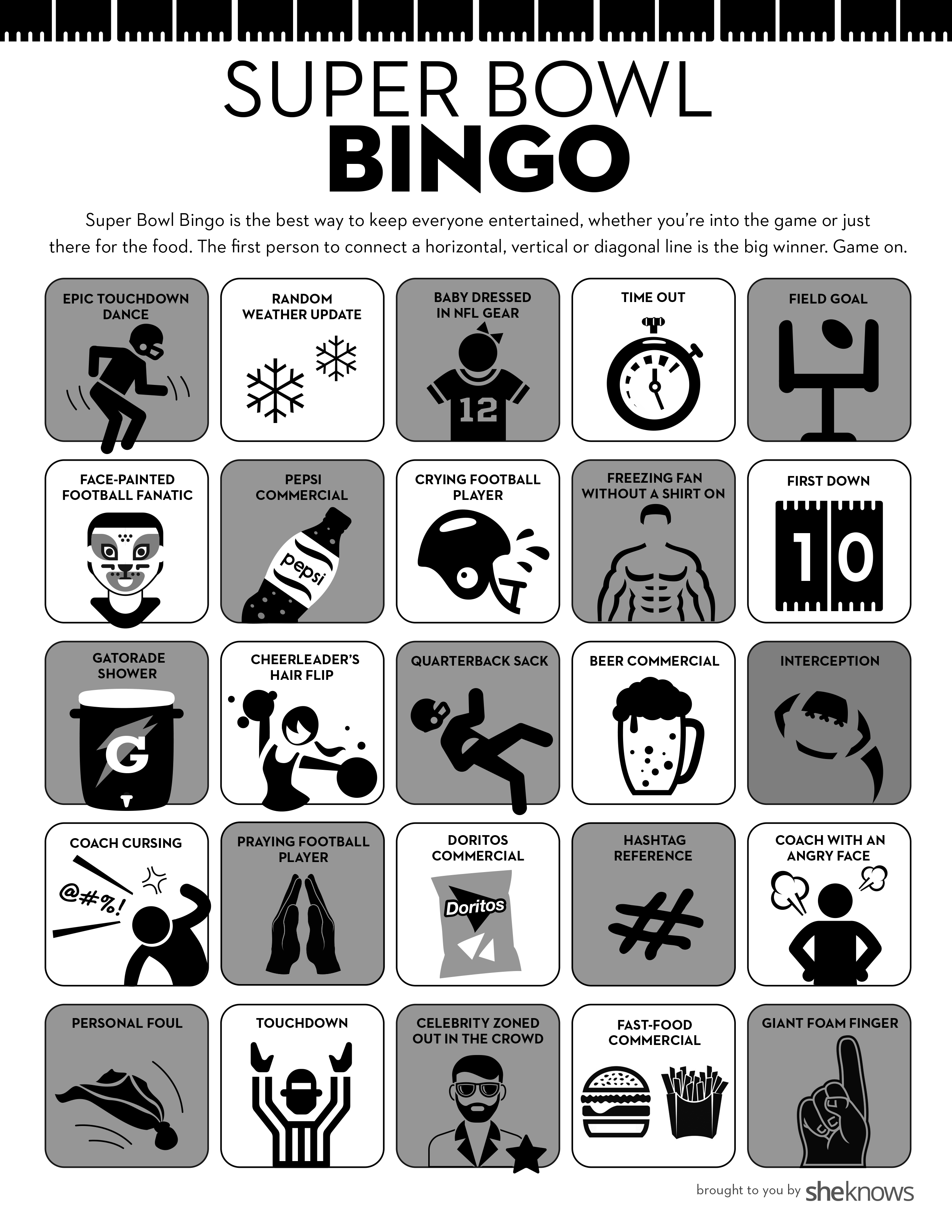 photo regarding Free Printable Football Bingo Cards identified as Tremendous Bowl Bingo Is the Fantastic Get together Recreation for Everybody
