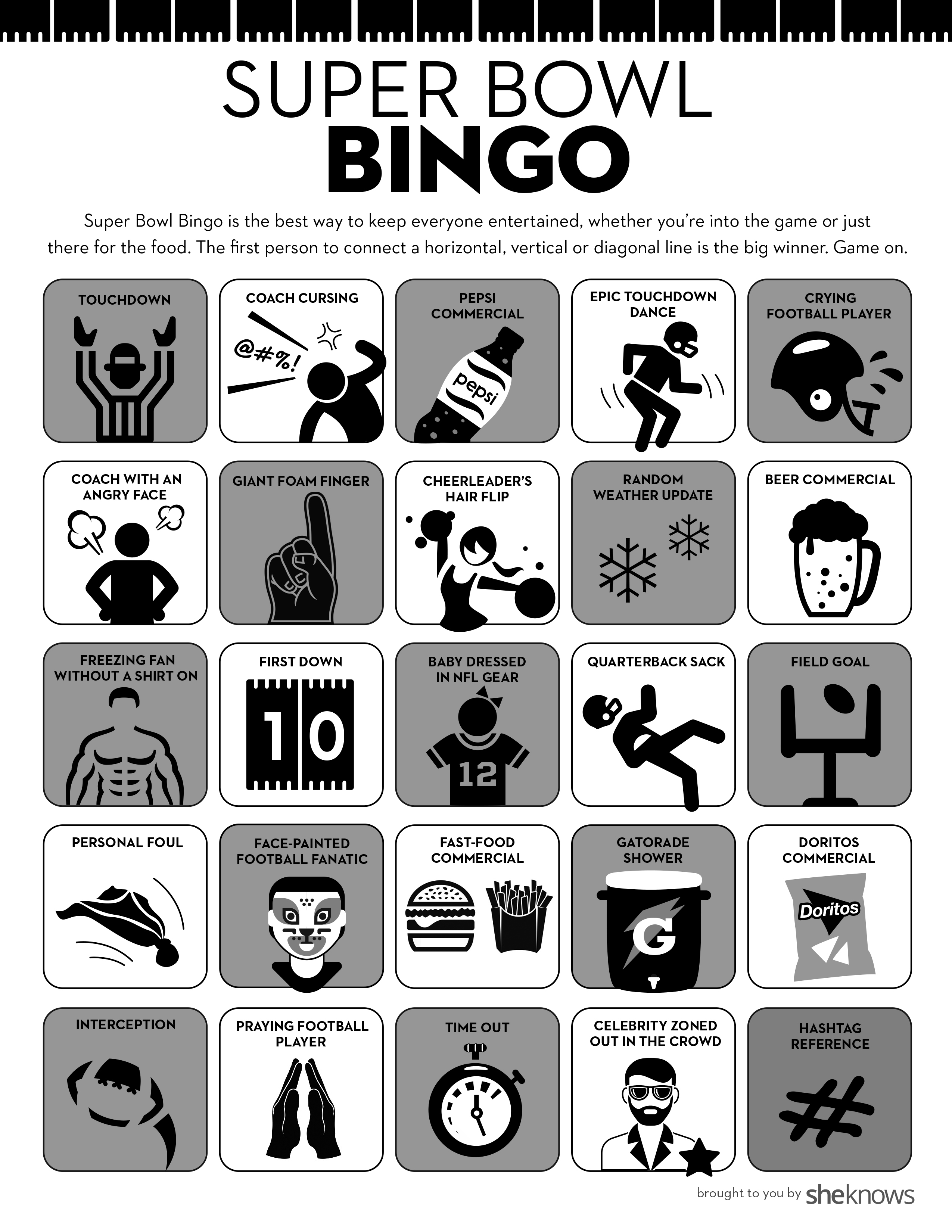 image regarding Free Printable Football Bingo Cards referred to as Tremendous Bowl Bingo Is the Suitable Occasion Sport for Everybody