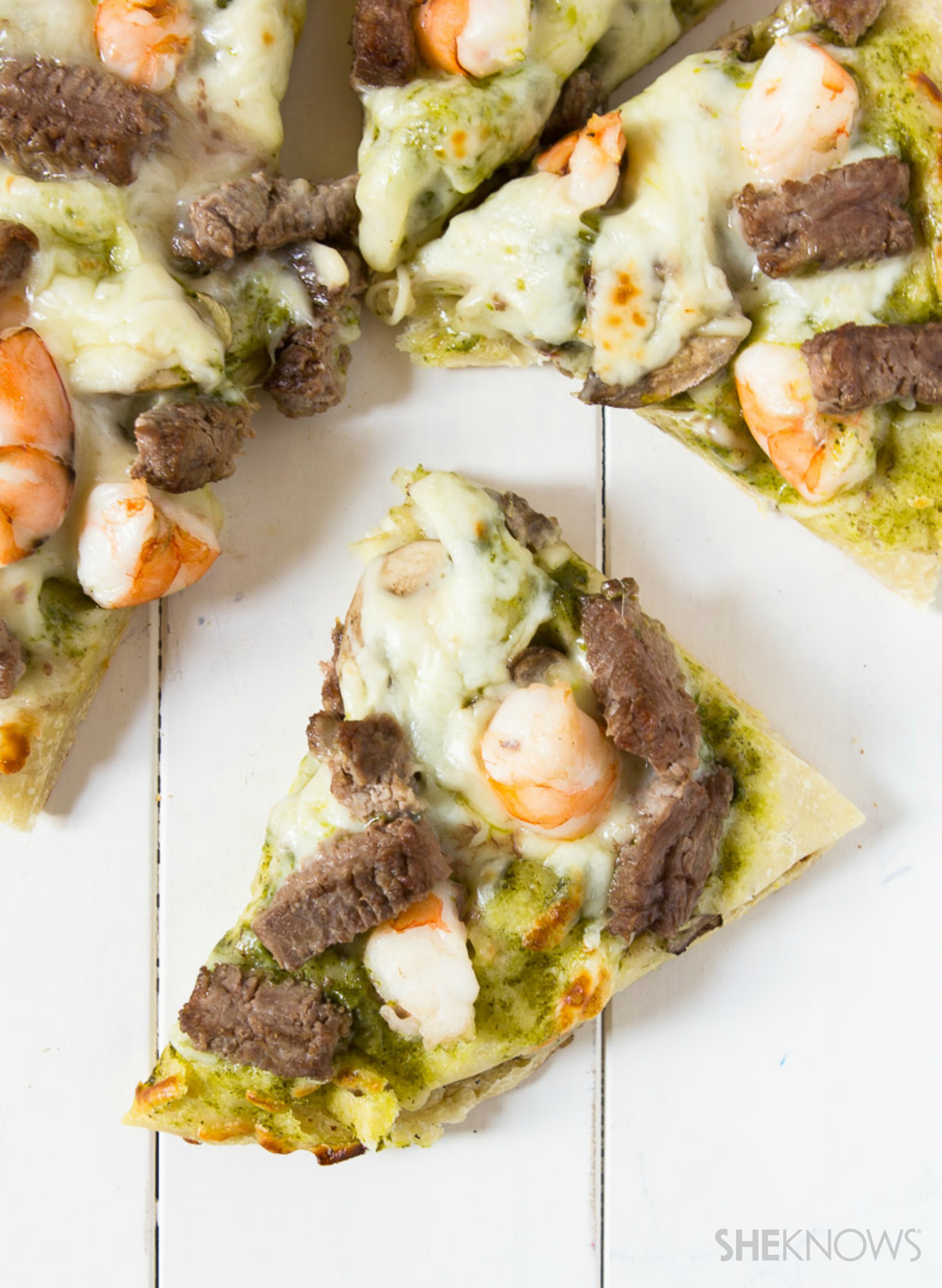 Surf and turf pizza