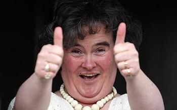 Susan Boyle gives the thumbs up
