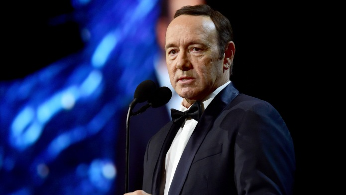 Kevin Spacey speaks onstage at the