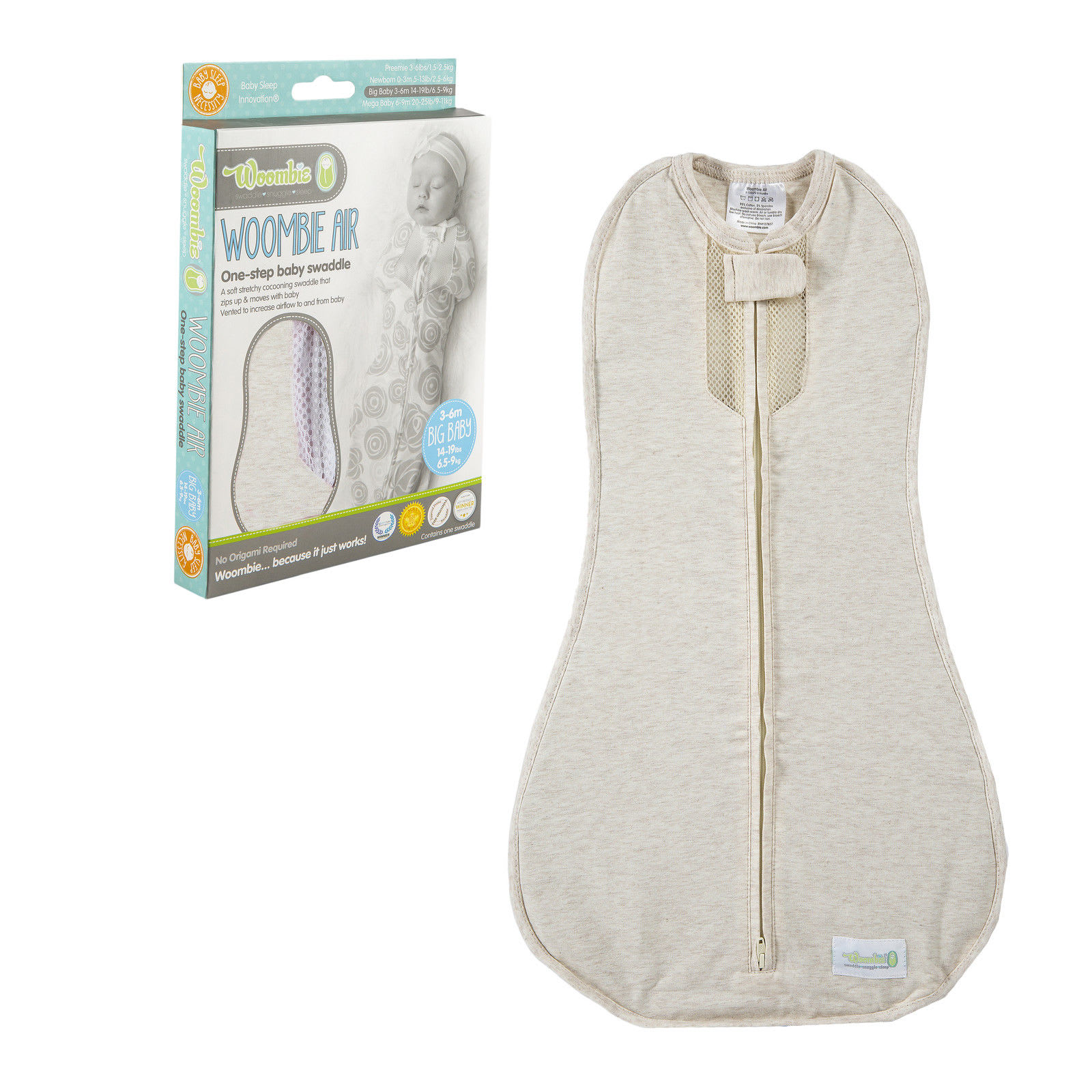 Stress-Relieving Products for New Parents: Woombie Air Nursery swaddling blanket